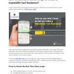 How to use uber clone script to create a reputable taxi business?