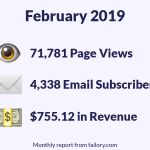 February Report: 71,781 Page Views, 4,338 Email Subscribers and $755.12